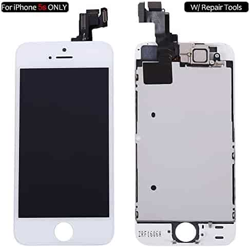 a4a76deb19cef1 Screen Replacement Compatible with iPhone 5s White, Fully Pre-Assembled LCD  Display and Touch
