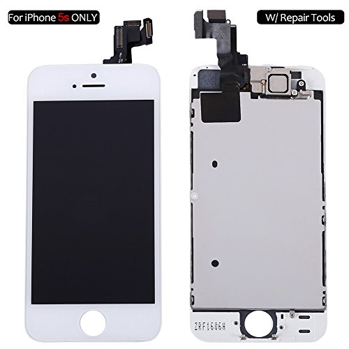 Screen Replacement Compatible with iPhone 5s White, Fully Pre-Assembled LCD Display and Touch Screen Digitizer Replacement for A1453, A1533, A1457, A1530 w/Repair Tools