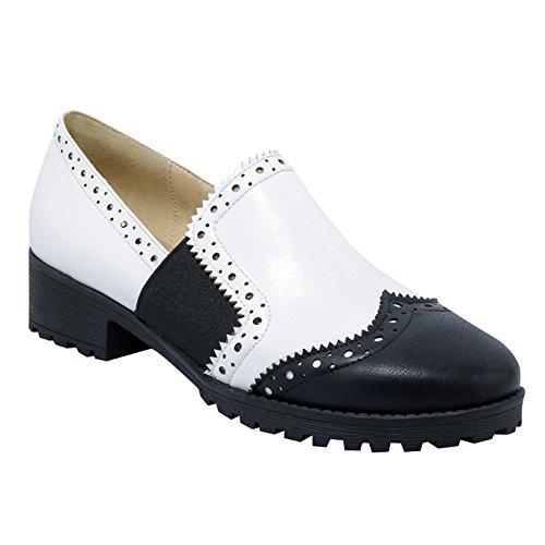 Latasa Dames Two Tone Chunky Heels Slip Op Loafers Schoenen Wit + Zwart