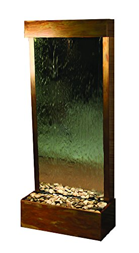 Harmony River Water Feature with Rustic Copper Trim, Flush Mounted in Base (Silver Mirror) by Adagio Water Features