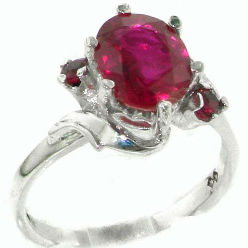 925 Sterling Silver Natural Ruby Womens Trilogy Ring - Sizes 4 to 12 Available