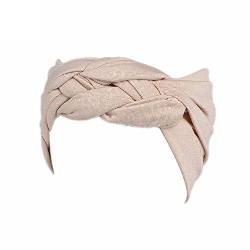 (Women Turban Headband Ladies Solid Color Wide Head Warp Hair Band Sports Elastic Hairband (Beige))
