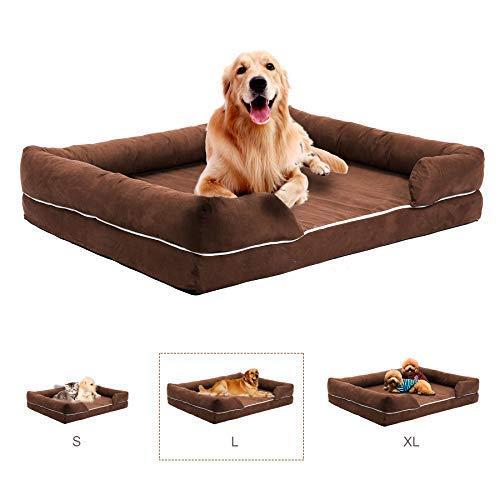 Gemeinsa Cama para Perros Sofá Cómoda para Mascotas Colchón de Espuma de Memoria para Perros, Gatos o Cachorros con Funda Extraíble Lavable (L 94cm): ...