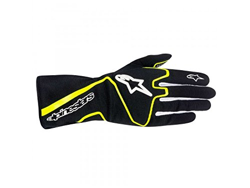 Race Star (ALPINESTARS TECH 1-K RACE GLOVES - BLACK/YELLOW FLUORESCENT - SIZE M)