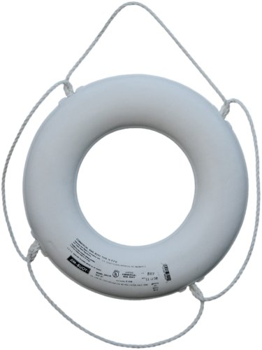 Lightweight White Ring - Cal June USCG Approved No Strap Ring (24- Inch, Diameter White)