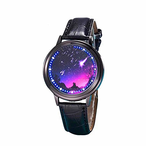 (MINILUJIA 30M Waterproof Binary Fashion Led Touch Screen Watch Classic Creative Starry Sky Watch Gril's Watces UniqueWomen Watches Meteor Shower 37mm Round Dial Soft Leather Strap Band Black)