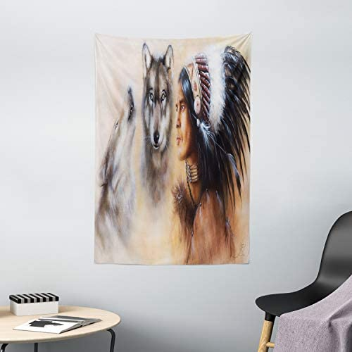 Ambesonne Colorful Tapestry, Blur Mystic Painting of Young Native Man Feather with Wolves, Wall Hanging for Bedroom Living Room Dorm Decor, 40 X 60 , Multicolor
