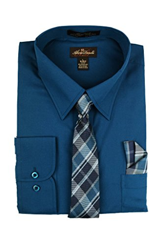 s Long Sleeve Dress Shirt with Matching Tie and Handkerchief, Medium / 15-15.5 Neck -33/34 Sleeve, Peacock ()