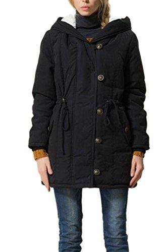 Invierno caliente mujer espesa chaqueta Parka con capucha capa botón negro