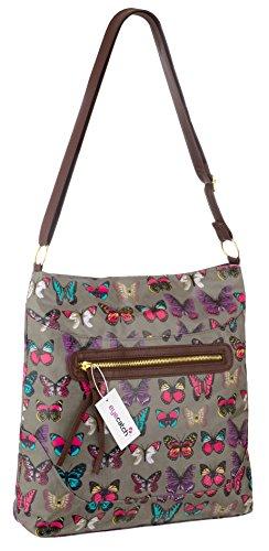 Bag Shoulder EyeCatch Womens TM Cloth Oil Grey Ladies Design Body Cross Butterfly qzvqTZHRw