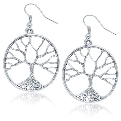 Tree of Life Earrings Silver Plated - Fashion Drop Dangle Earrings for Women & Girls - Pendant Hoop Earring Set - Womens Gift Idea for Anniversary - Birthday (Silver-Plated-Bronze)