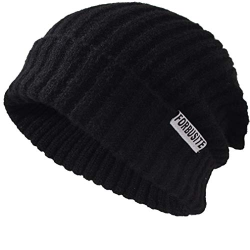 FORBUSITE Cuffed Ribbed Knit Slouchy Beanie Winter Cap Hats for Women Men Black