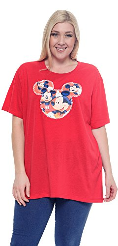 Disney Plus Size T-Shirt Mickey Mouse Icon Head Print Red 2X