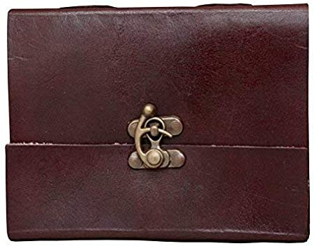 ALCRAFT Handmade Paper Notebook Leather Diary for Journal with Metal Lock  Brown, 6x4.5 Inches  Diaries