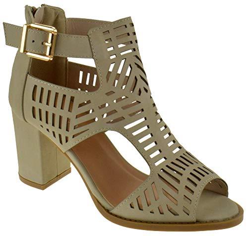 TOP Moda Levin 1 Ankle Strap Open Toe Chunky Heel Platform Gladiator Sandal Beige 10 - Heel Gladiator Sandals