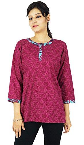Crateurs Kurta imprim KOKOM Tunique Haut Indiens Rose Ethniques Kurti de Coton Robe FRAtAnTq