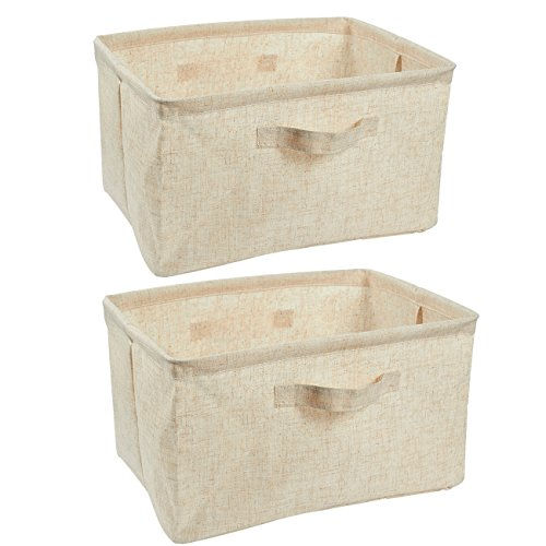 Juvale Cube Storage Bins - 2-Pack Fabric Storage Bin, Perfect Storage Bin for Clothes, Bedroom, Toys, Magazine Organizer with Handles - Linen Fabric Cloth Storage Bins, Beige, 2 Sizes