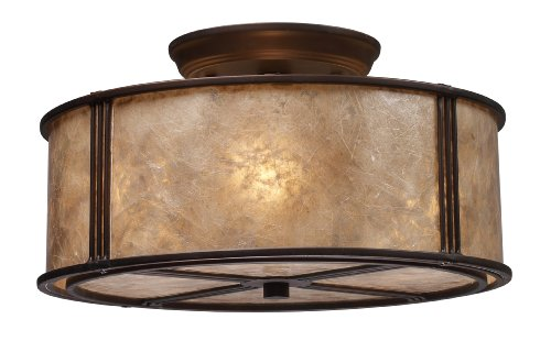 Elk 15031/3 Barringer 3-Light Semi-Flush In Aged Bronze and Tan Mica Shade from ELK