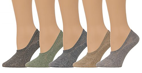 Men's No Show Bokashi - Color Socks w/ Silicon Pad - (5 pair set) (One Size(5-8), Multi)