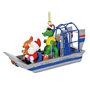 Best Epic Trends 41WkUkXS3eL._SS300_ Cape Shore Alligator Guided Airboat with Santa and Reindeer Christmas Holiday Ornament