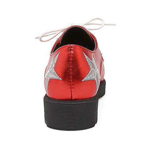 Ladies Bandage Toe Pointed Oxfords Square Red Platform BalaMasa Heels Shoes Urethane SgUHqxgd