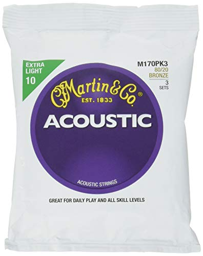 Martin M170 80/20 Bronze Acoustic Guitar Strings, Extra Light - 3 Pack with Picks ()