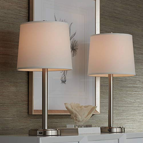 Camile Modern Table Lamps Set of 2 with Hotel Style USB Charging Port Brushed Steel Off White Drum Shade for Living Room Family Bedroom - 360 Lighting
