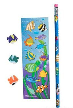 (24) Tropical Fish Stationery Set ~ Awesome Party Favor ~ - Fish Eraser