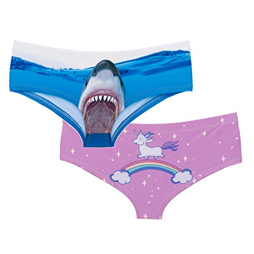 2pack Fashion 3D Printed Shark+Unicorn Sexy Large Size Animal Women's Briefs Thong
