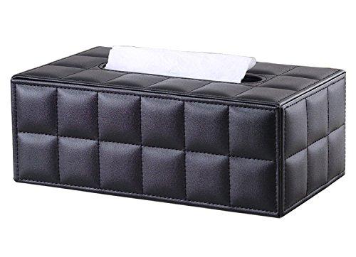 KINGFOM Imitation Suede Leather Rectangle Paper Tissue Box Dispenser Case Napkin Holder Home Office Decoration Car Accessory Colors (Soft Black)