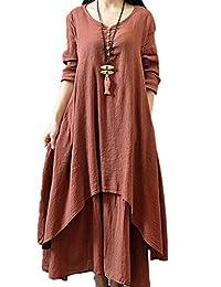 Women Casual Long Sleeve 2 Layers Asymmetric Cotton$Linen Maxi Dress Plus Size