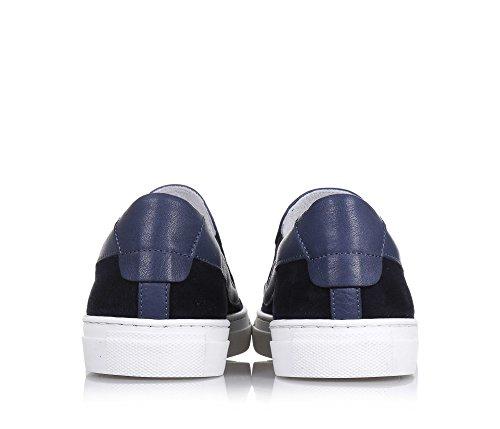 CESARE PACIOTTI - Slip on bleue en suède, fabriquée en Italie, avec ourlet supérieur en cuir, pièces élastiques, garçon, garçons