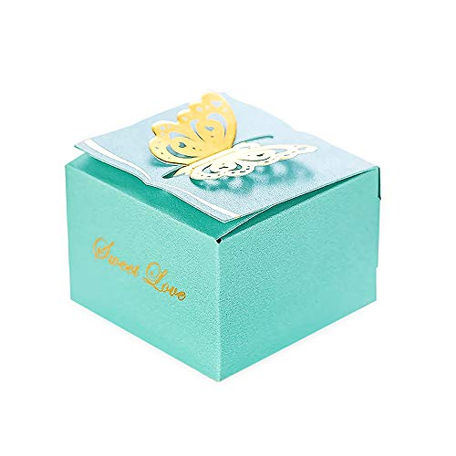KAZIPA 50pcs Laser Cut Flower Candy Boxes,2.6″ x 2.6″ x 1.6″ Butterfly Gift Boxes for Anniverary Party Wedding Favor(Blue)