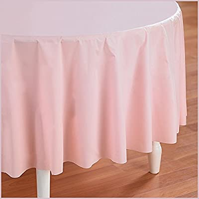 Classic Pink (Light Pink) Round Plastic Tablecover by Creative Converting