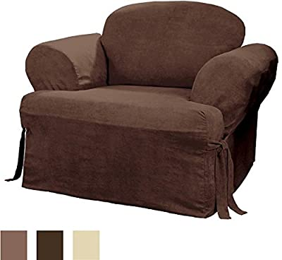 Sure Fit Soft Suede T-Cushion - Chair Slipcover - Chocolate