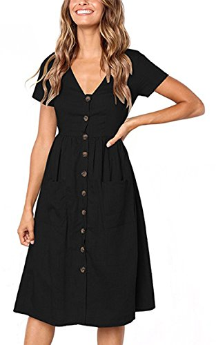 Angashion Women's Dresses-Short Sleeve V Neck Button T Shirt Midi Skater Dress with Pockets Black M