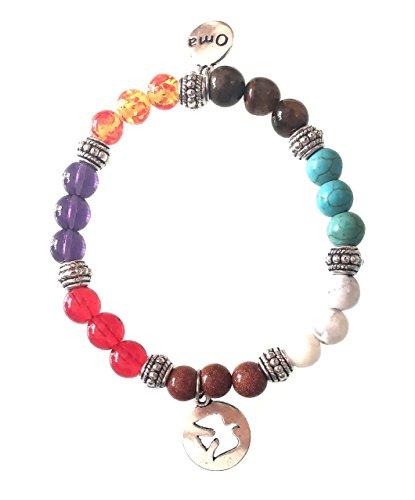 Seven CHAKRA Semi Precious Stones Tibetan Buddhist Bracelet With Charm For Meditation & Healing - Premium Quality - OMA BRAND (Dove)