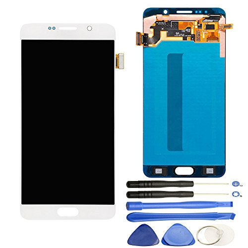 Comfine Original OEM Screen Replacement for Samsung Galaxy Note 5 LCD Display Screen + Touch Digitizer Full Assembly, Compatible with N920T N920V N920P, Super AMOLED, Repair Tools Included, (White)