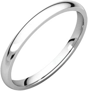 Platinum 2mm Light Comfort Fit Band, Ring Size 5.5