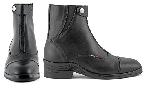 Umbria Leather Riding Boots With Zip Front Adult Unisex Black 41 56Zk0