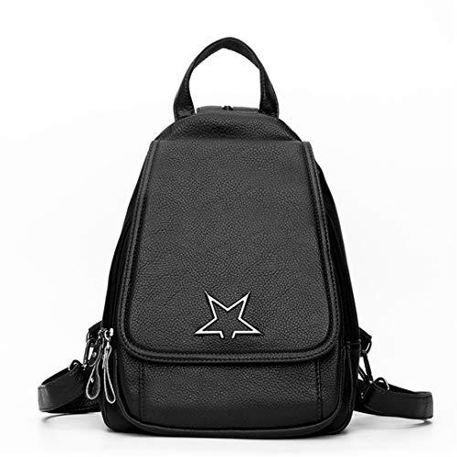 Leren Rugzak Designer Bagpack met Star Rugzak Solid Dames Vintage Zwart Dames Dames Rugzakken Multifunctionele vwICYFq
