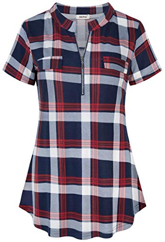 BEPEI Women Tops,Short Sleeve Zip up Buffalo Plaid Print Tunic Shirts with Chest Flaps Cute Notch V Neck Fake Pocket Tartan Leisure Blouses Grid Print Boutique Clothing Lounge Wear Navy Blue Red M