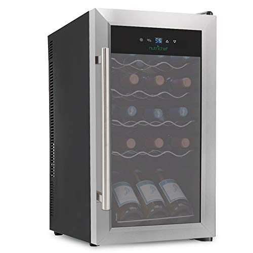 Nutrichef PKCWC15 15 Bottle Compressor Cooler Refrigerator | Red and White, Champagne Chiller | Counter Top Cellar | Quiet Operation Fridge, 1, Black