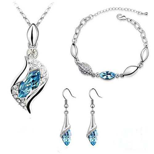 light blue crystal necklace - 9