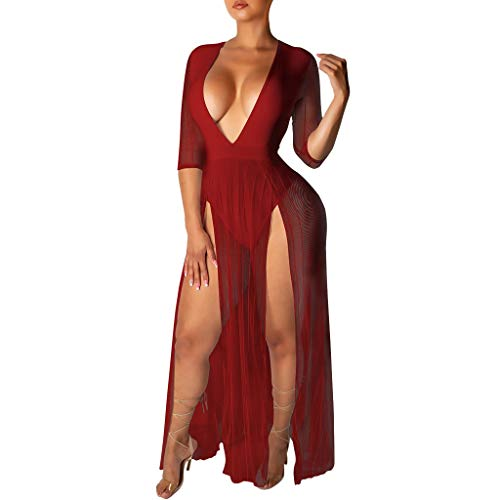 Clearance! Swiusd Women's Sexy Night Club Party Dresses Deep V Neck Tulle - Nightclub Mirrors Bathroom