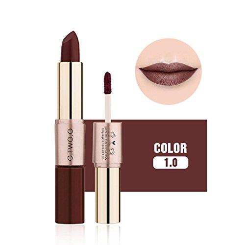 Coohole 12 Colors Women 2 in 1 Velvet Matte Lipstick Lip Gloss Double-End Makeup New Beauty (J)