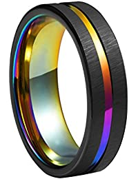 6mm Rainbow Black Brushed Tungsten Wedding Band Triton Gorgeous Center Grooved Couples Rings