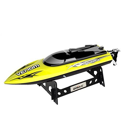 (UDI001 Venom Remote Control Boat: for Pool & Outdoor Use– RC Racing Boat with Remote Control; Force1 High-Speed Series RC Boats for Adults & Kids + Bonus Battery (Limited Edition Yellow))