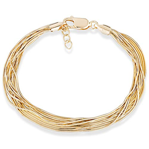 MiaBella 18K Gold Over 925 Sterling Silver Italian Multi-Strand Diamond-Cut Solid Snake Chain Bracelet for Women Adjustable 6.5