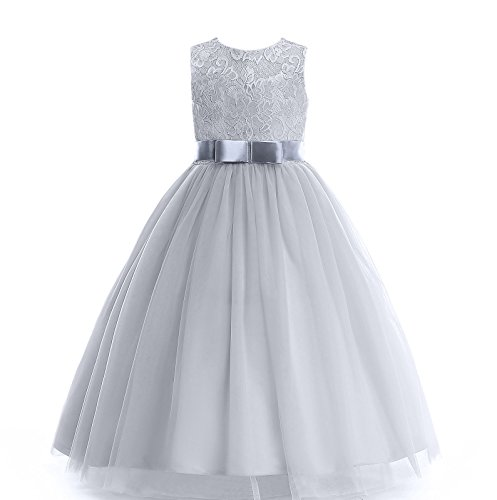 Glamulice Girl Lace Dress Long Party Wedding Dresses Mesh and Bow Age 3-16Y (9-10T, Gray) by Glamulice